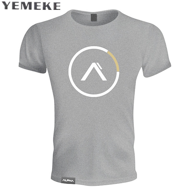 YEMEKE Summer mens Brand clothing Fashion Fitness   t     Shirt   Casual Bodybuilding Muscle male Short sleeve Slim Cotton Tee tops