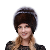 JERYAFUR New style rabbit fur hat knitted wool fashion mink and Fox Fur Hat Winter women's trip Ski Hat protects ears Russian