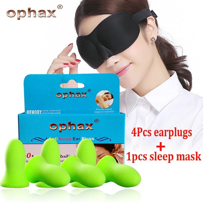 OPHAX Travel Sleep Set 4pcs Soft Foam EarPlugs +1pcs Sleeping Eye Mask to Sleep Rest Travel Relax blindfold for sleep Anti Noise