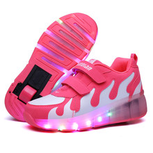 PINK Kids Shoes with LED Children Roller Skate Sneakers Heelys Wheels Glowing Led Light Up for Boys Girls Zapatillas Con Ruedas(China)