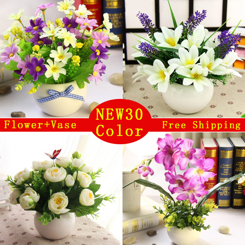 JAROWN Artificial Flowers Rose Quality Ceramics Vase +silk Flowers  Artificial Flower Set Home Decoration Home