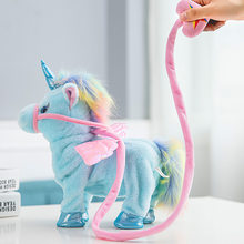 35cm komik elektrikli yürüyüş tek boynuzlu at pelüş oyuncak dolması hayvan oyuncaklar çocuklar için elektronik müzik tek boynuzlu at oyuncak yılbaşı hediyeleri