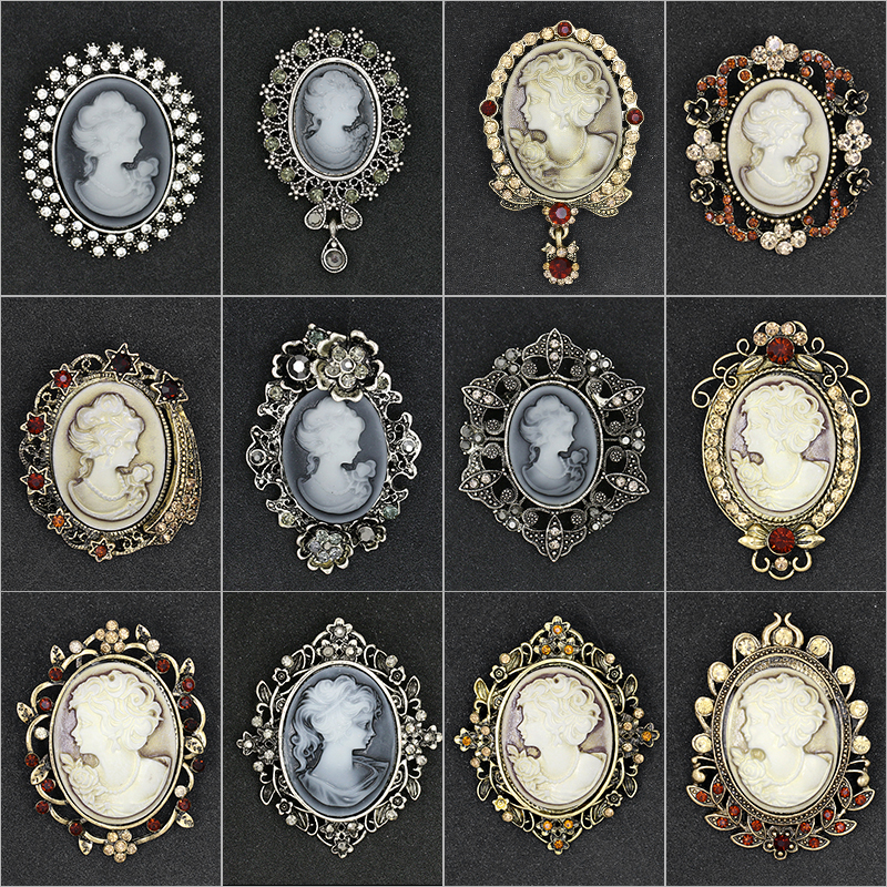 Assorted Styles Crystal Rhinestones Cameo Vintage Brooches for Women