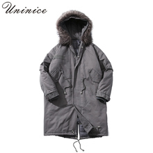2018 New Winter Thicken Men's Parka Coat 3XL Plus Size Cotton Padded Warm Fur Collar Hooded Coat Male Long Wind Trench Coats