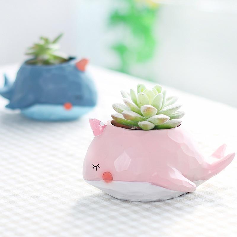 Cute Succulents Pots Ceramic Vase Office Desktop Decor Floral Vase Home Living Room Fashion Vase Animal Figurines Vase