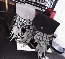 Willsrain 여자 패션 블랙 배낭 윙 좋은 품질 독특한 디자인 천사 pu 레이디 가방 세련 된 십 대 배낭 boslo