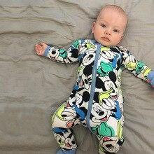 Новый Розничная 2018 Новый новорожденных для новорожденного мальчика и одежда для девочек Микки даже Детские ползунки сиамские га одежды