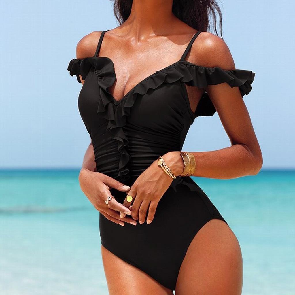 Sports & Entertainment Swimming 2019 Sexy Bandage Bikinis Women Sexy Deep Plunge Two Piece Swimwear Lace-up Backless Monokini Bathing Suit Badpak Dames #3