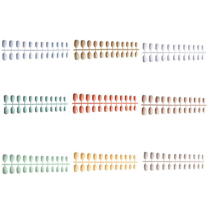 24 шт./компл., короткие круглые накладки для ногтей, овальные накладные ногти, акриловые накладные ногти для маникюра, салонные советы с 2g клеем для ногтей, мягкие конфетные цвета