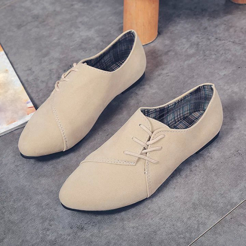 Vintage Women's Shoes Fashion Ladies Lace Up Flat Shoes New Head Shoes Low To Help Flat Bottom Female Casual Shoes High Quality