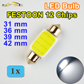FESTOON COB 31mm 36mm 39mm 42mm C5W Lâmpada LED 12 Chips DC12V Cor Branca Car Dome luz Auto Interior Lâmpada