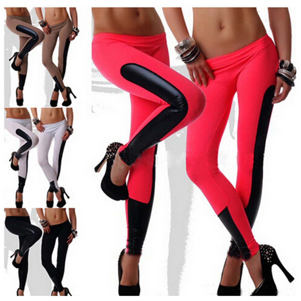 wholesale Women Leggings black/red/camel/white leather Patchwork PU Leggings  Pants Elastic - Popular Black And Red Striped Leggings-Buy Cheap Black And Red