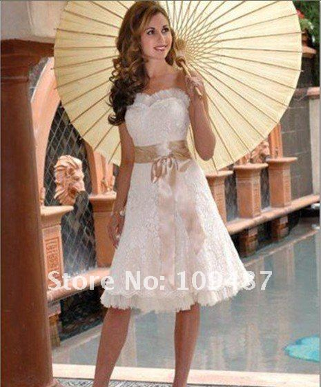 Champagne Sash Lace Short Skirt Wedding Prom Gown Dress History: Feedbacks .