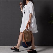 OKXGNZ Cotton Linen Dress Women 2017 Summer New Fashion Costume Embroidery Dress Round Neck Middle Sleeves Loose Plus Size AH143
