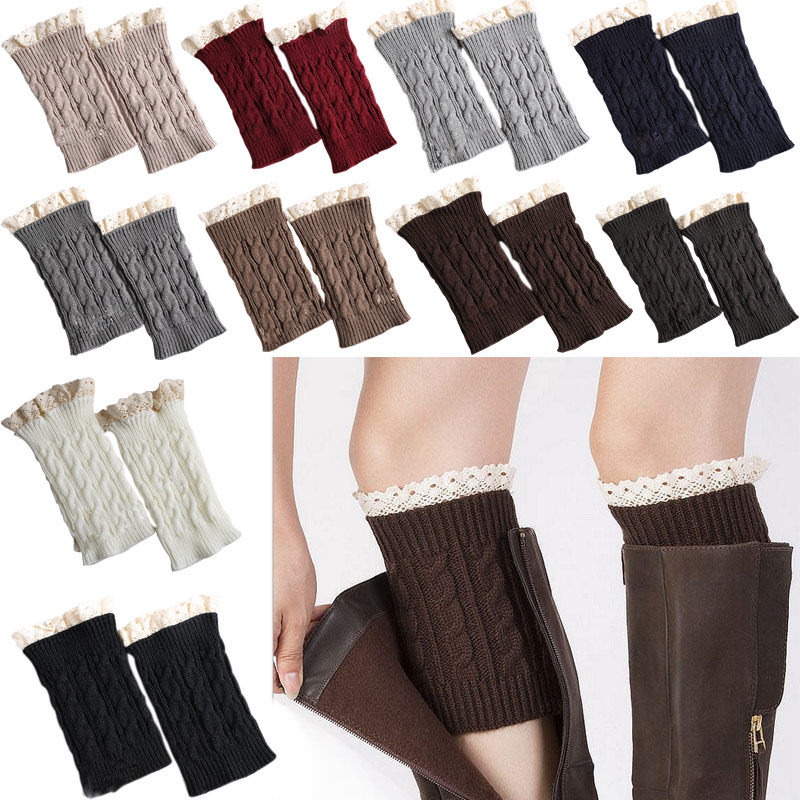 Fashion Winter Warm Legs Women Girls Crochet Knit Lace Trim Leg Warmers Cuffs Toppers Boot Socks 88 -MX8