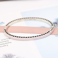 Wholesale Fashion Jewelry New Really 925 Sterling Silver Enamel Heart Shaped Bracelet For Women Charm Bangle