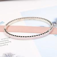 Wholesale Fashion Jewelry New Really 925 Sterling Silver Enamel Heart Shaped Bracelet For Women Charm Bangle