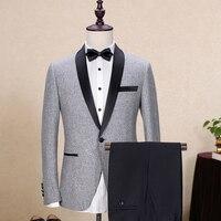 Последние конструкции пальто брюки светло серый Твид Нарядные Костюмы для свадьбы для человека формальных шалевыми лацканами пользовател