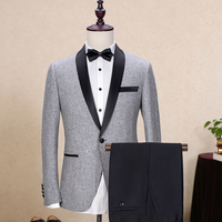 Latest Coat Pant Designs Light Grey Tweed Wedding Suits For Man Formal Shawl Lapel Custom Groom Prom Tuxedo 2 Piece Blazer Terno
