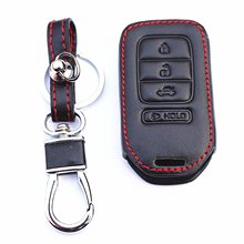 WFMJ Black Leather accessories Remote 4 Buttons Key Chain Holder Cover Case Fob For Honda Pilot Accord Civic CR-V CR-Z HR-V