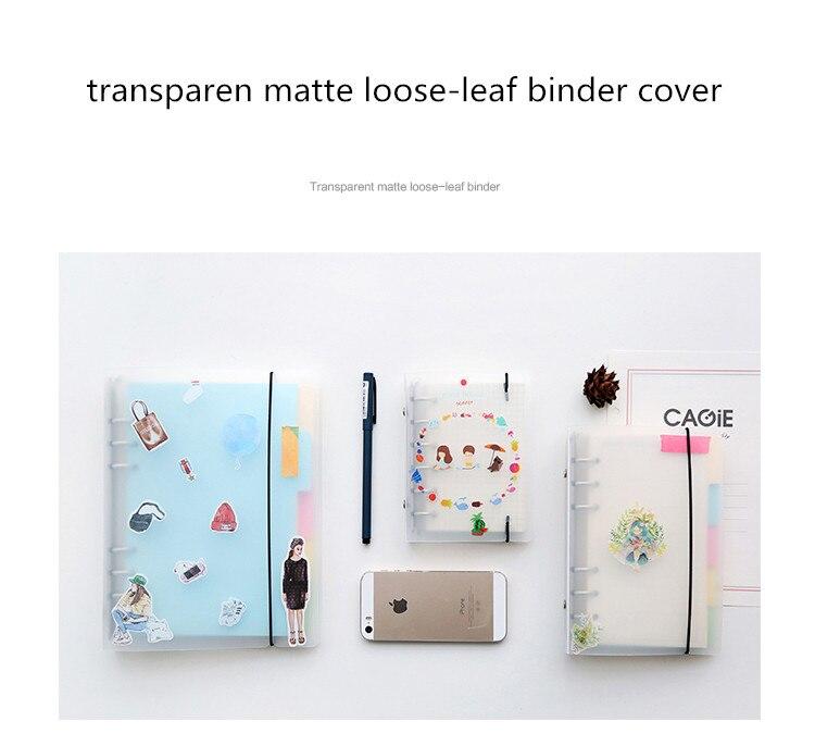 1 Pcs PP Transparent Matte Loose Leaf Binder Cover With