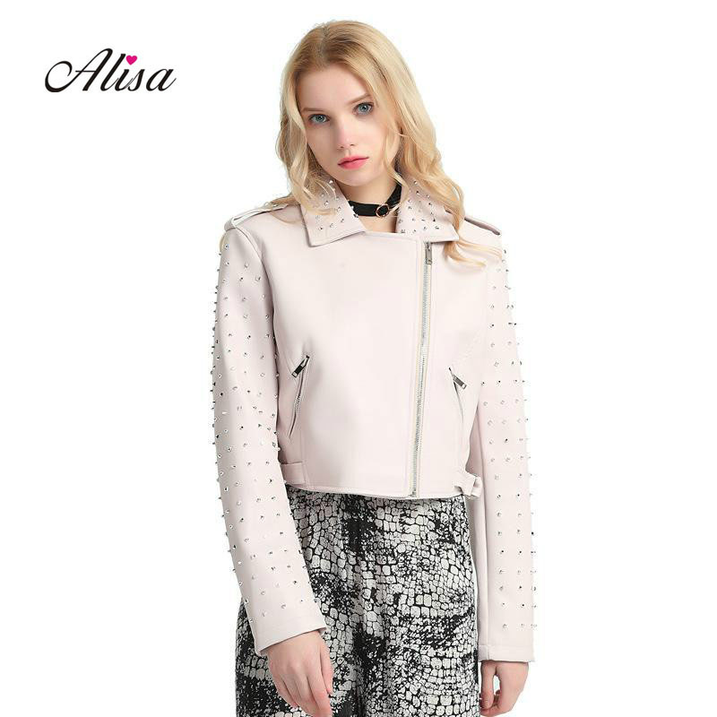 2019 New Womens Bikermoto   Leather   Jacket PU   Leather   Autumn Females Slim Coat Nail Bead Jackets Punk Lapel Short   Leathers   Coats