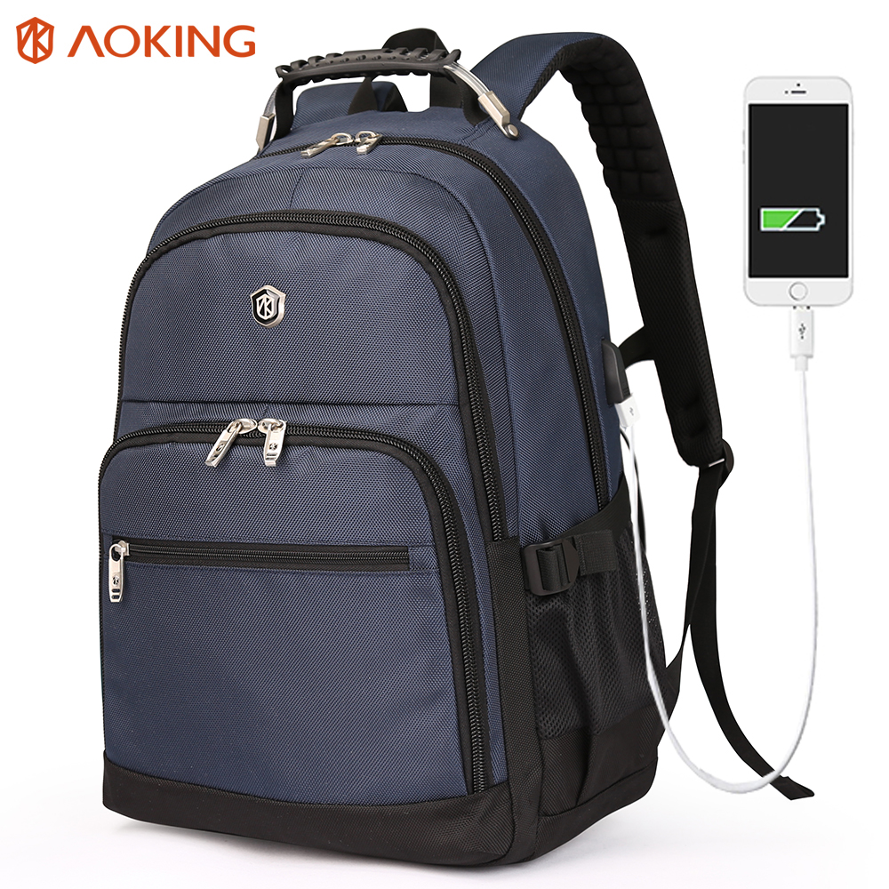 Aoking Laptop Backpack USB Charging 17 inche College Bags for Teenagers Large Capacity Nylon Air Cushion