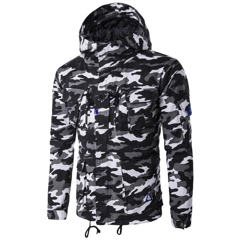 ФОТО Camouflage Jackets Basic Coats Military 2017 Winter Ziper Jacket Men Parka Drawstring Cotton Casual Windbreaker Hooded pocket