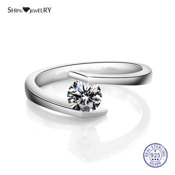 ShiPei 100% 925 Sterling Silver Unique 2ct White Sapphire Round Engagement Ring For Women Anniversary Gift Fine Jewelry shipei created moissanite heart ring for women fine jewelry 100% 925 sterling silver love heart ring anniversary valentines gift