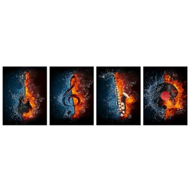 4 Panel Musik Leinwand Malerei Wasser Feuer Instrument Serie Bild