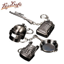 3D Keychain Battle Grounds Keychain Helmet Pan 98K Gun Alloy Keyring Jewelry FPS Game Fans Gift Llaveros Mujer Brelok(China)