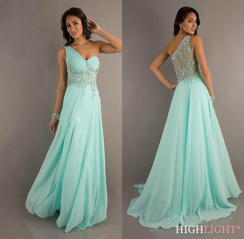 One Shoulder Sleeveless Long Prom Dress Lace See Through Chiffon Formal Pageant Party Bridesmaid Evening Dresses