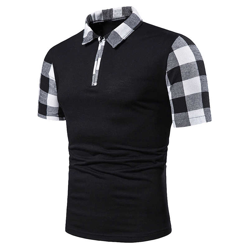 Oeak 2019 Short Sleeve Plaid Patchwork Polo Shirt Men Classic Plaid Polo Shirts Slim  Mens Casual Clothe Fashion Streetwear