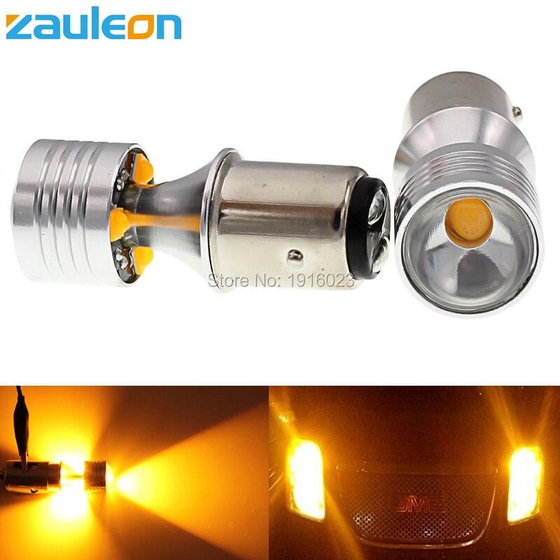 Zauleon 2шт 1157 BAY15D P21/5 Вт желтый Янтарь 20W Сид наивысшей мощности автомобиля сигнала поворота светло-Янтарный свет Стоянкы автомобилей-стайлинг
