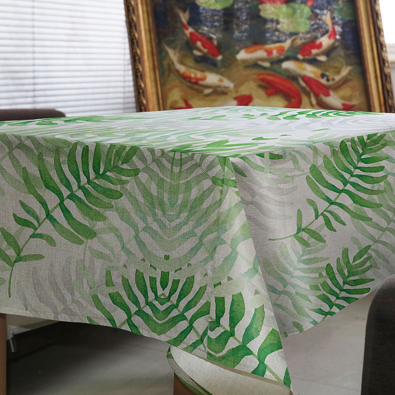 Tablecloth Creative simple green plant leaves Decorate house restaurant wedding decorations Picnic mat on the table round table