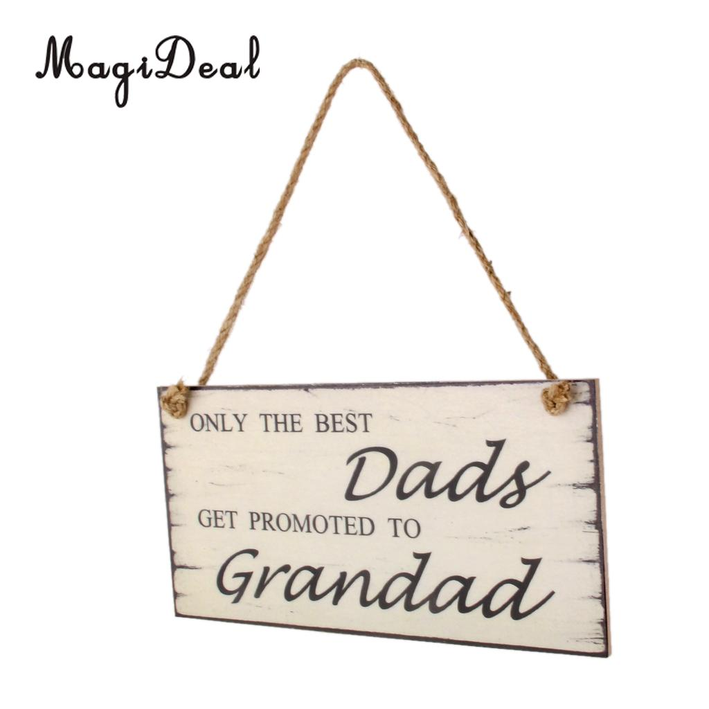 MagiDeal Hand Carved Hanging Wooden Dad Get Promoted To Grandad Birthday Father Day Gift Wall Plaque Sign Rectangular Shape Gift