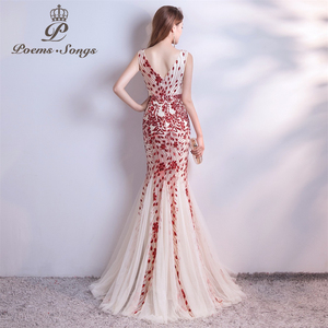 Image 3 - Poems Songs  sequins Mermaid  Evening Dress prom gowns Formal Party dress vestido de festa Elegant Vintage robe longue