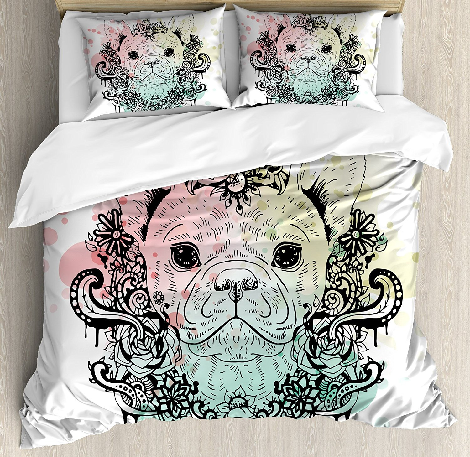 Animal Duvet Cover Set French Bulldog with Floral Wreath on Brushstroke Watercolor Print 4 Piece Bedding