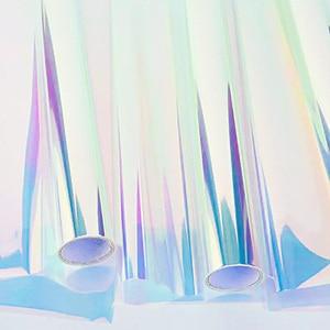 Image 2 - Nicrolandee 20 cali x 10 motyw kwiatowy, 0,9 metra opalizujący celofan tęczowy Film świąteczne urodziny materiały do dekoracji ślubnych