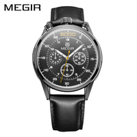 MEGIR Official 2017 New Business Quartz Watch For Man Military Chronograph Wrist Watches Men Army Genuine