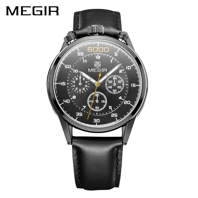 MEGIR Original Clock Men 3D Display Business Men Watch Chronograph Quartz Military Watch Relogio Masculino Mens Watches