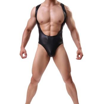 Seksowna bielizna Body mężczyzna ciała Shaper budowy ciała kombinezon męskie Body imitacja skórzane męskie podkoszulek zapaśniczy garnitury ciała tanie i dobre opinie JJSOX Nylon Kolorze ciała Mężczyźni 03-1336 Stałe Body Suit bodysuit sexy lingerie bodysuit Mens Body Shaper Bodybuilding