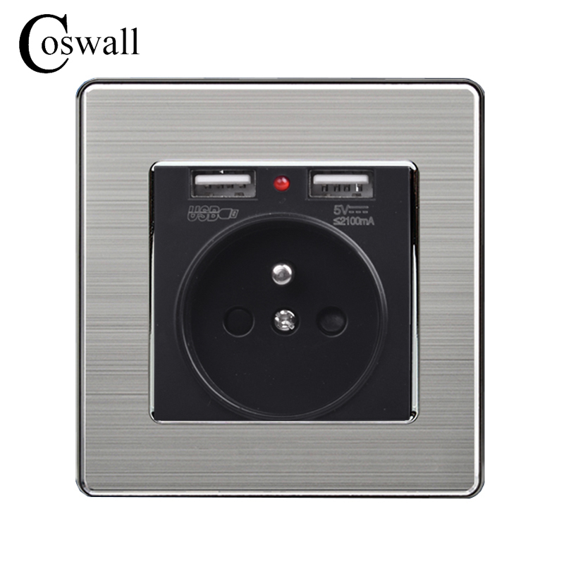 Coswall Black Dual USB Charging Port 5V 2.1A Wall Charger Adapter LED Indicator 16A French Power Socket Stainless Steel PanelCoswall Black Dual USB Charging Port 5V 2.1A Wall Charger Adapter LED Indicator 16A French Power Socket Stainless Steel Panel