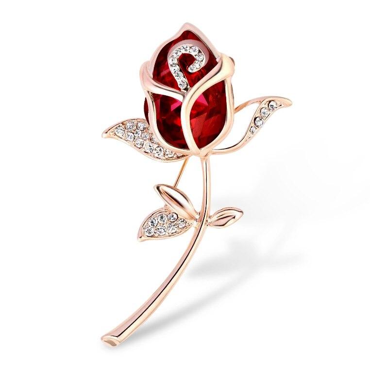 e3d615053 קנו סטים של תכשיטים   Crystal Rose Flower Brooch Pin Rhinestone Alloy Rose  Gold Brooches Birthday Gift Garment Accessories