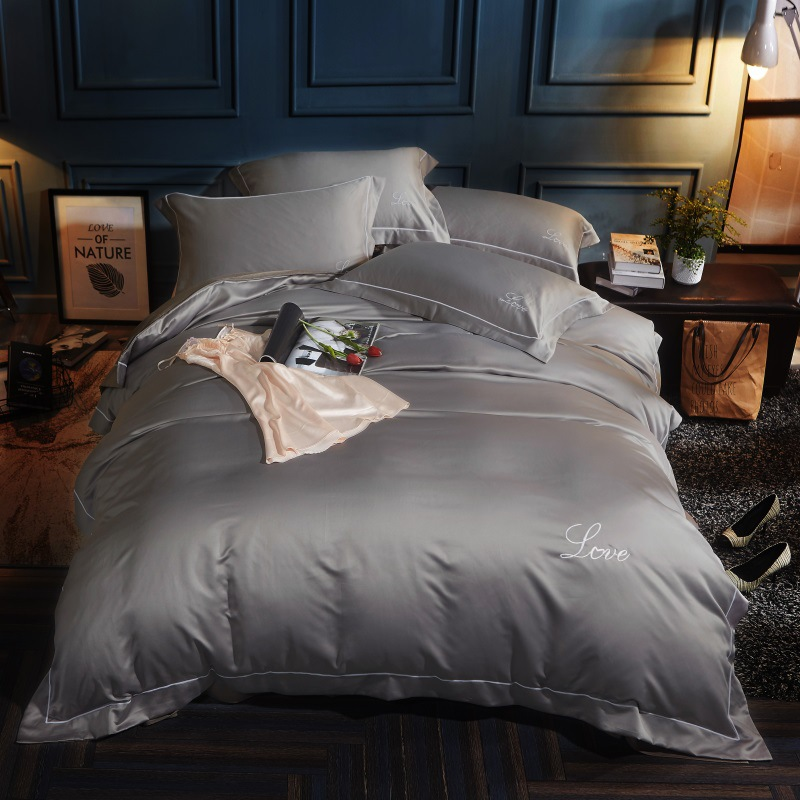 Modern Home Hotel Embroidery Bedding Sets Quality Cotton Satin Duvet cover sets Solid Color 4pcs Quilt
