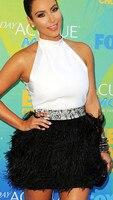 Free Shipping Kim Kardashian Short Mini Cocktail Dresses White And Black Feather Prom Dresses Wedding Party