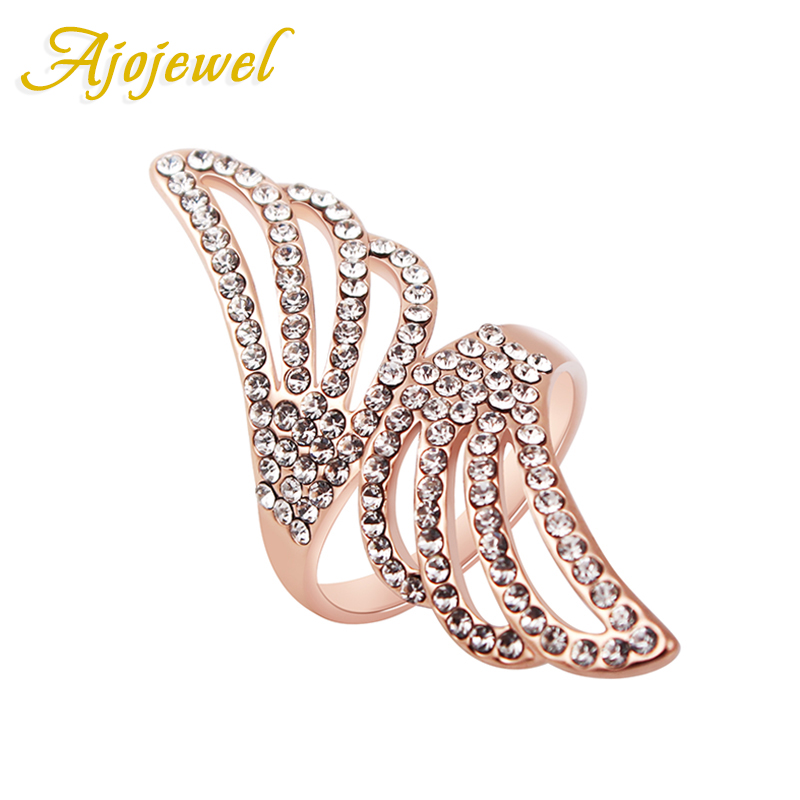 Ajojewel #6-9 New Fashion Angel Wings Ring Micro Crystal Rose Gold Color Rings For Women Wedding Engagement Accessories
