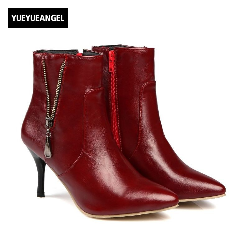 2018 Winter Fur Lining Warm Womens Ankle Boots High Heel Zipper Design Botas Pointed Toe PU Leather Motorcycle Sexy Female Shoes