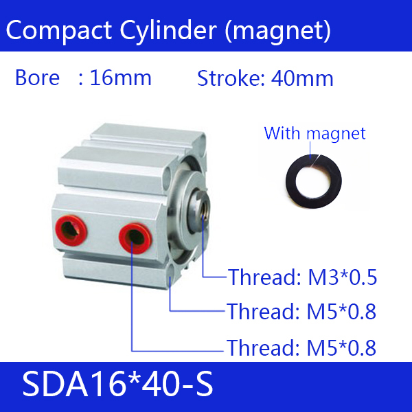 SDA16*40-S, 16mm Bore 40mm Stroke Compact Air Cylinders SDA16X40-S Dual Action Air Pneumatic Cylinder, magnetSDA16*40-S, 16mm Bore 40mm Stroke Compact Air Cylinders SDA16X40-S Dual Action Air Pneumatic Cylinder, magnet