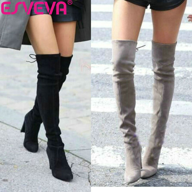 ESVEVA 2018 Western Style Spring Over The Knee Boots Square High Heel Women Boots Sexy Ladies Lace Up Fashion Boots Size 34-43 esveva 2017 western style flock women boots over the knee boots winter square high heel ladies lace up fashion boots size 34 43